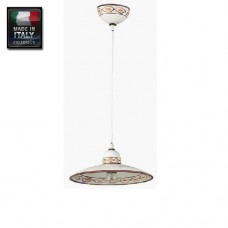 Sospensione lampadario in ceramica decorata a mano cm 25 marrone